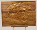 Gravure en bois d'un arbre en 3D départ en retraite