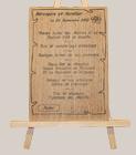 Gravure en bois d'un menu de mariage